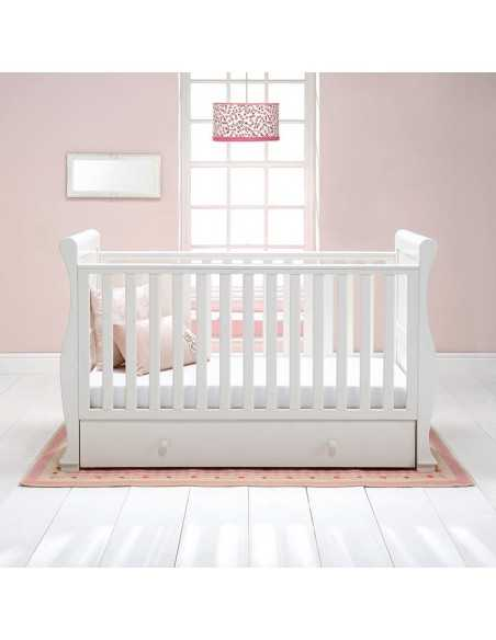 East Coast Alaska Sleigh Cot Bed With Underbed Drawer-White East Coast