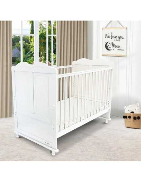 iSafe Baby Cot Bed Toddler Bed-Adam (White Including Mattress) Isafe