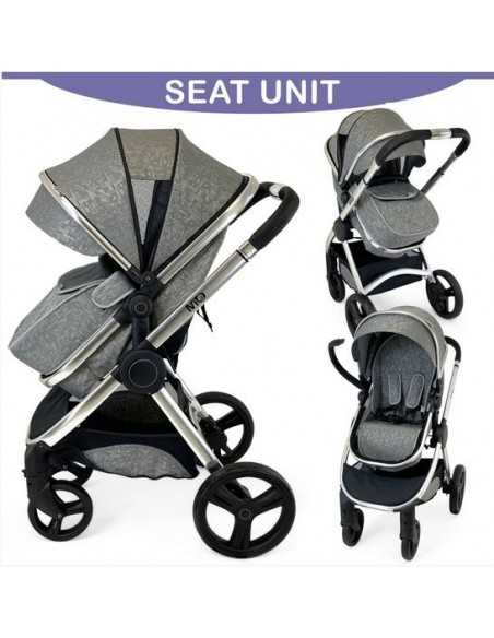 Isafe Mio All In One 3in1 Pram System-Silver Mist Isafe