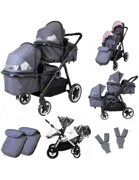 Isafe Tandem Double Pram Travel System-Cookie Isafe