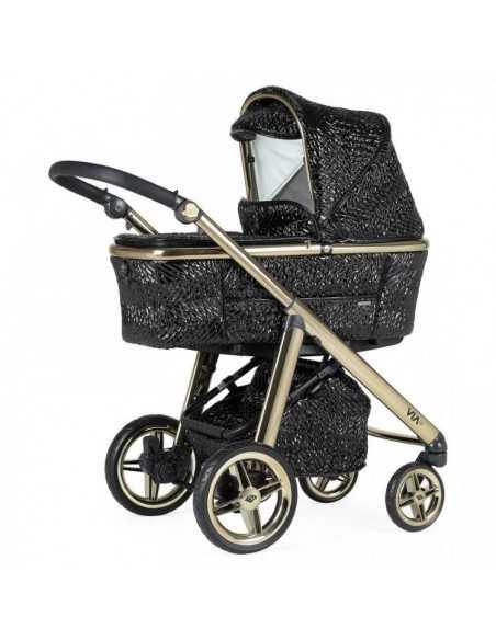 Bebecar Prive Via+ 3in1 Combination Pram + Raincover & LA3 Safety Kit-Black & Gold (180) Bebecar