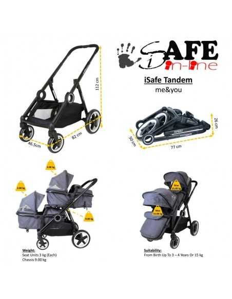 Isafe Tandem Double Pram Travel System-Harmony Isafe