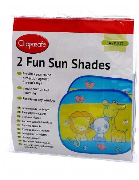 Clippasafe Auto Safari Fun Sun Screens Multi Coloured 2 Pack Clippasafe