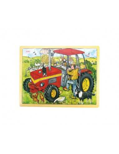 Bigjigs Toys Tray Puzzle Tractor-Red