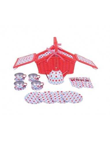 Bigjigs Toys Spotted Basket Tea Set