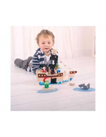 Bigjigs Toys Mini Pirate Ship Playset Bigjigs Toys
