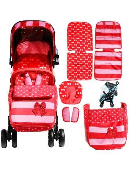 Isafe Optimum Baby Stroller Bundle With Changing Mama Bag-Bow Dots Isafe
