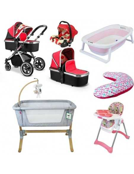 iVogue 7 Piece Bundle 3in1 Pram, Bedside Crib, Highchair, Nursing Pillow, Baby Bath-Apple iVogue