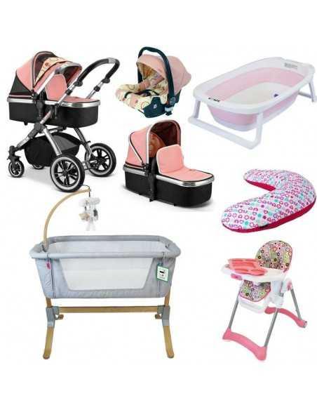 iVogue 7 Piece Bundle 3in1 Pram, Bedside Crib, Highchair, Nursing Pillow, Baby Bath-Peach iVogue
