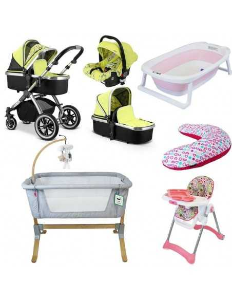 iVogue 7 Piece Bundle 3in1 Pram, Bedside Crib, Highchair, Nursing Pillow, Baby Bath-Pears iVogue