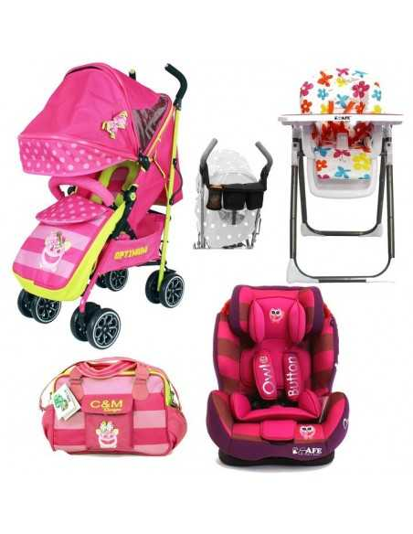 Optimum Essential Bundle Package + Stroller + All Stages Car seat + High Chair + Accessories-Pink Girls Isafe