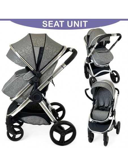 Isafe Starter Bundle MiO All In One 3in1 Pram System-Silver Mist + Cosy Cuddler Bedside Crib + Baby Bouncer Isafe