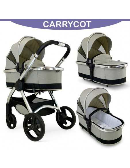 Isafe Starter Bundle MiO All In One 3in1 Pram System-Dawn + Cosy Cuddler Bedside Crib + Baby Bouncer + Isofix Base Isafe