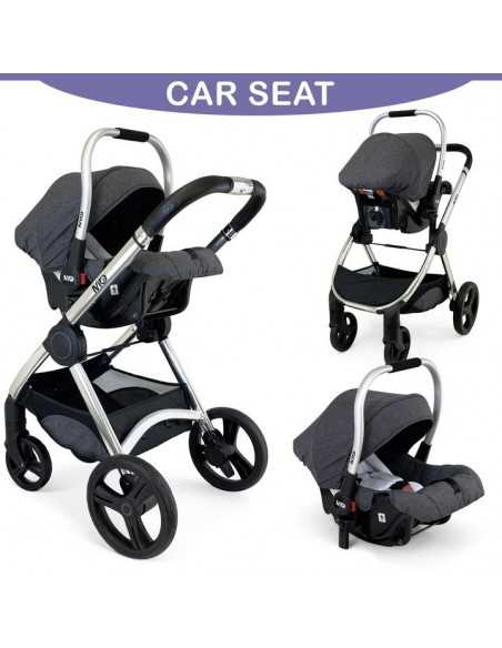 Isafe Starter Bundle MiO All In One 3in1 Pram System-Cookie + Cosy Cuddler Bedside Crib + Bouncer Chevron + Isofix Base Isafe