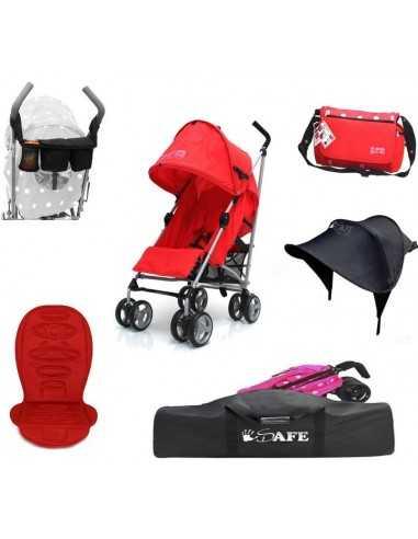 Zeta Red Stroller + Travel Bag +...