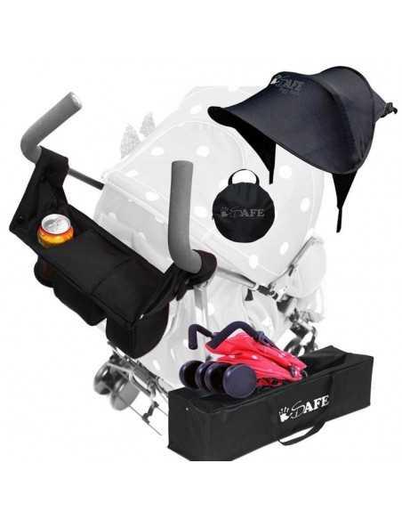 Zeta Plum Dots Stroller + Travel Bag + Changing Bag + Console + Sunshade + Liner Zeta