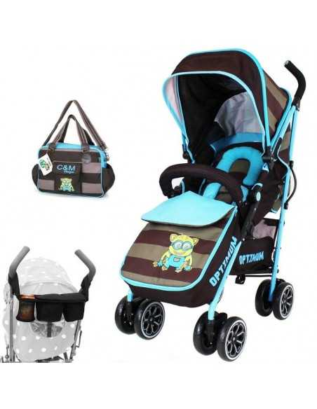 Optimum Essential Bundle Package - Blue Boys Design + Stroller + All Stages Car seat + High Chair + Accessories Isafe