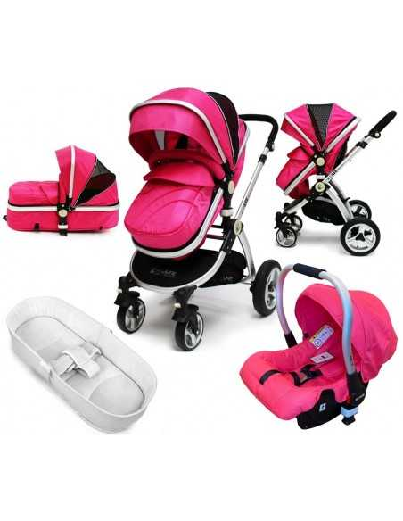 iSafe Pram Travel System-Pink With Car Seat & Bedding Isafe