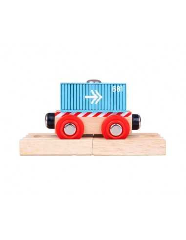 Bigjigs Rail Container Wagon-Blue
