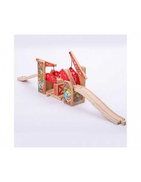 Bigjigs Rail Double Lifting Graffiti Bridge Bigjigs Toys