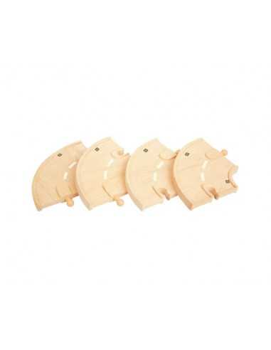 Bigjigs Rail Curved Roadway (Pack of 4)