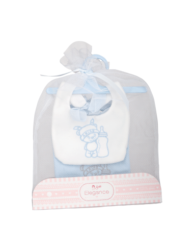 Arias Set of 2 Bibs - Blue and White