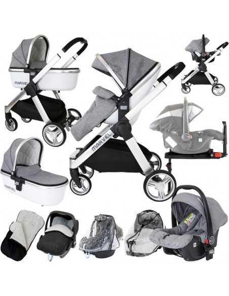 Marvel 3in1 Pram-Dove Grey Pram Travel System Isofix Base + Luxury Carrycot + Car Seat + x2 Raincovers + x2 Footmuffs Isafe