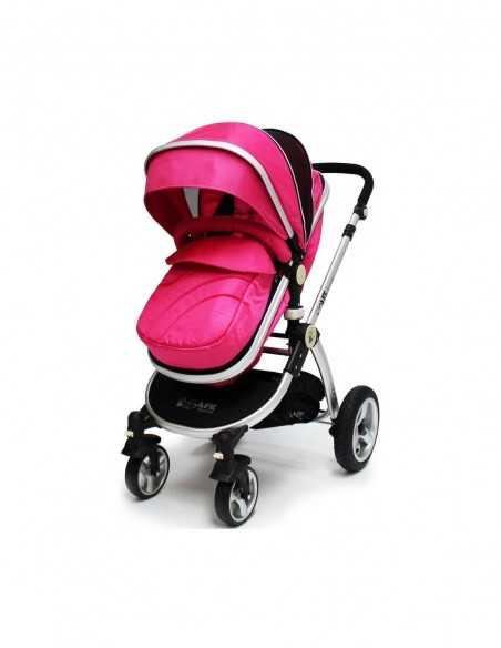 Isafe Pram Travel System + Car Seat & Bedding + Mama Plus Baby Highchair + Baby Bouncer Rocker-Pink Isafe