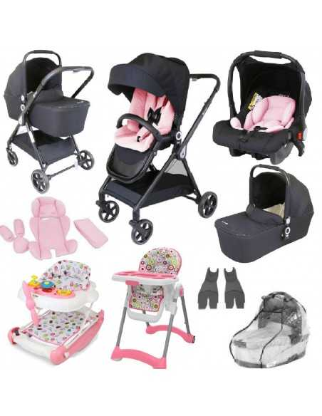 Isafe 3in1 Pram Travel System + 2in1 Aero Walker And Rocker + Mama PLUS Baby Highchair-Pretty Pink Isafe