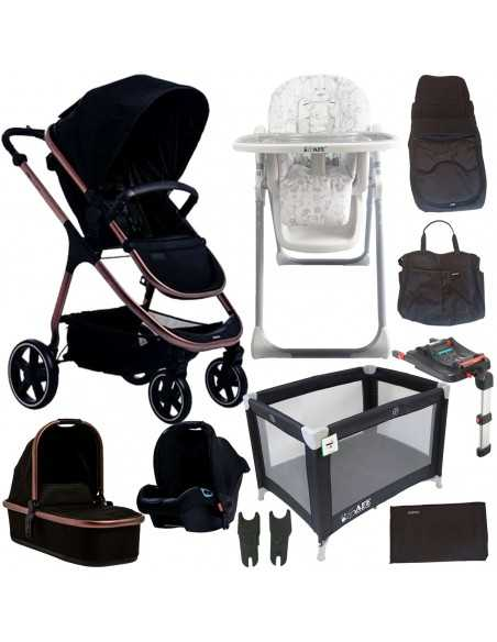 Didofy Cosmos Bloom Full Travel System Bundle-Midnight Black + Luxury Travel Cot + Mama Highchair Didofy