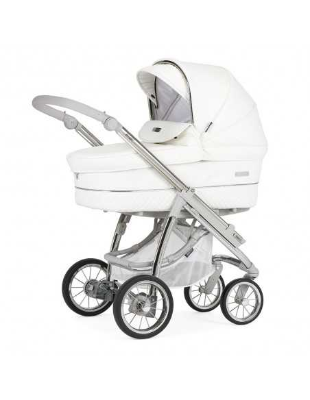 Bebecar Ip-Op Stroller + Car Seat, LA3 Kit Travel System-White Delight + Trama Crib With Mattress + Easy Maxi Car Seat Base Bebecar