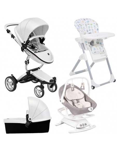 Mima Xari 3in1 Aluminium Chassis Pushchair-Snow White + Sansa Swing + Mimzy Highchair Mima